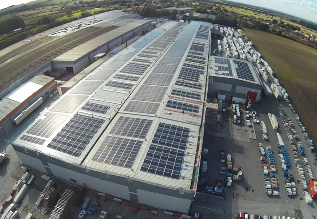 CIBSE Journal January 2016 The replacement roof and 5MWp PV system installed so far at Kingspan's Sherburn plant