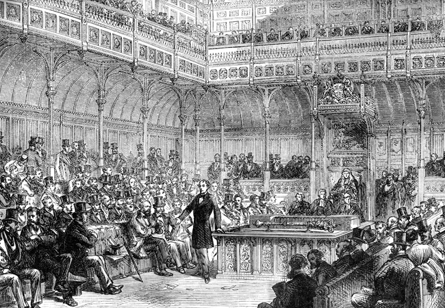 Disraeli making his speech to introduce the Reform Bill in the House of Commons, in 1967