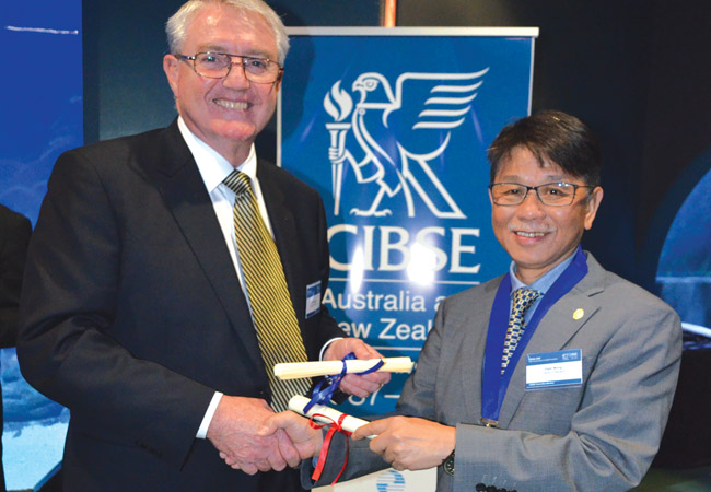 Engineers Australia president John McIntosh and CIBSE President Peter Wong