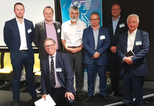 Series speakers (from left): Wayne Gass, senior security consultant, Jacobs; Paul Dearlove, technical director, IBMS; Dr Hywel Davies, technical director, CIBSE; Jon Clarke, associate director and controls group manager, Digital Buildings, NDY; Brett Naylor, group manager – digital delivery, BECA; Chris Wallbank, head of energy and sustainability services, JLL Australia; and (front) Andrew Crabtree, CIBSE WA chair
