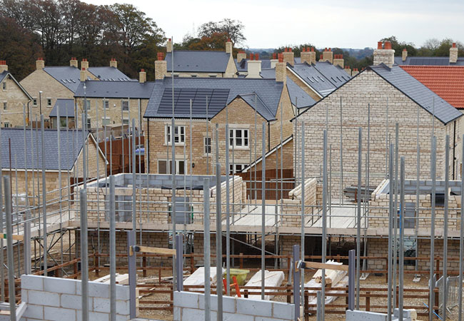 Homes on building site