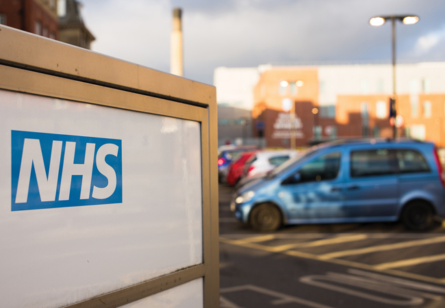 NHS sign and car park